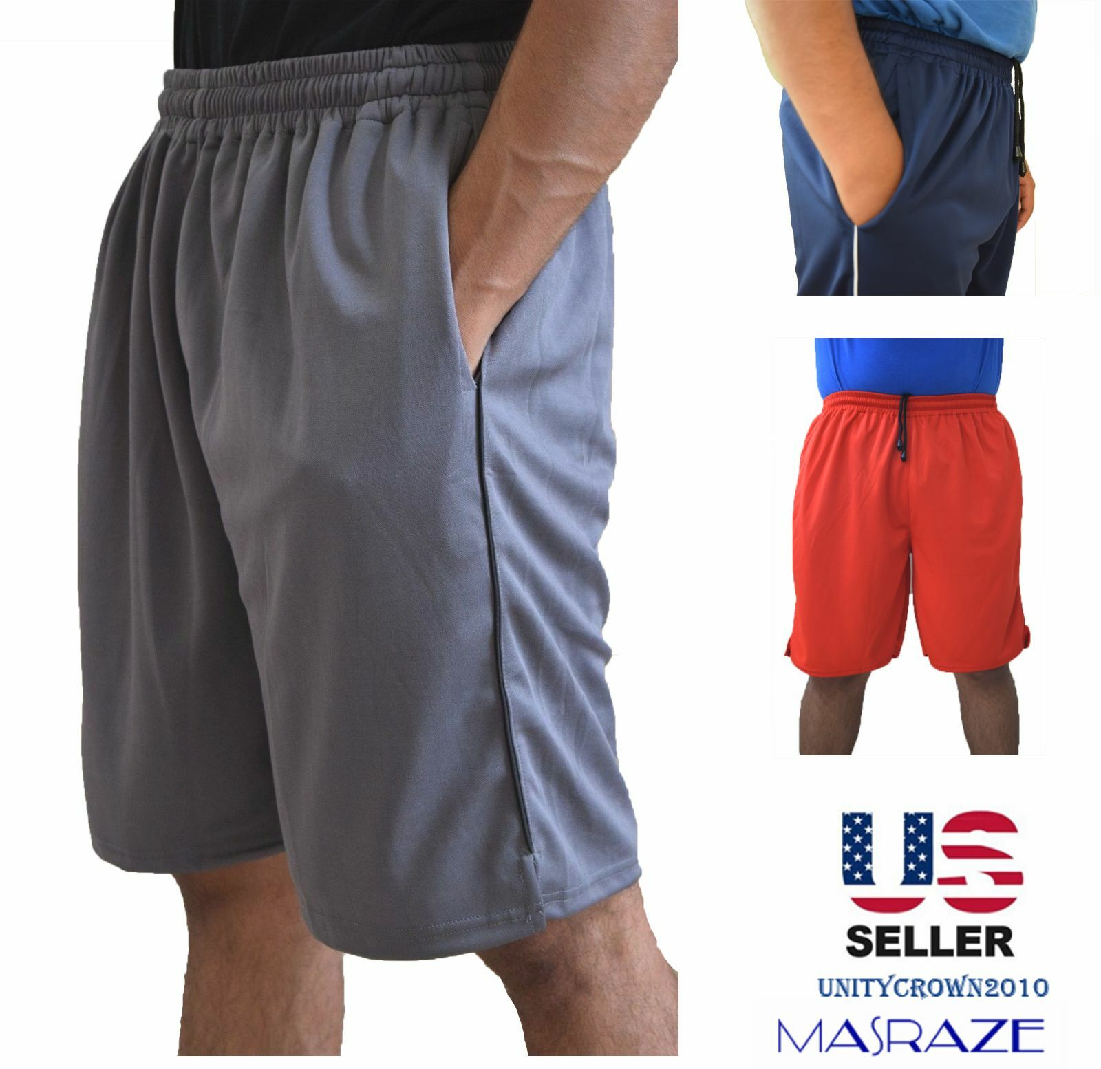 Mens Basketball Gym Fitness Workout Athletic Shorts with 2 P