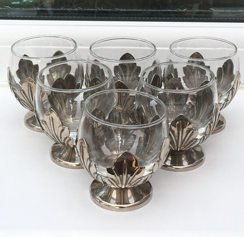 Vintage Silver Plated & Glass Goblets X6. Leaf Design 7 Cm Tall