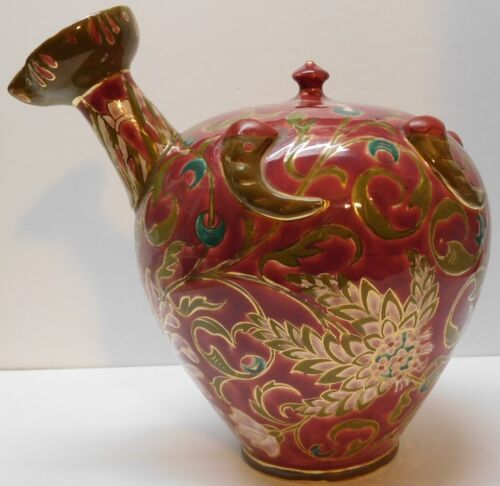 Fischer Budapest Pink Flowers Green Gold Turquoise Pitcher Vase Vintage