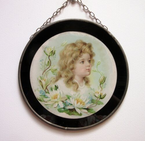 Antique Flue Cover Victorian Lithograph Young Girl Water Lilies