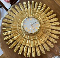 Vtg Mid Century Modern Starburst Sunburst  22 Glass Dome Clock Gold