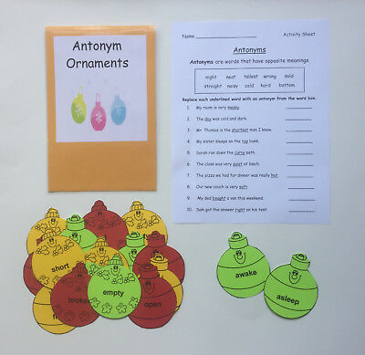 Teacher Made Literacy Center Educational Learning Resource Game Antonyms