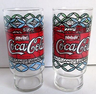 """2 Vintage Coca Cola Glass Tumbler Stained Glass Tiffany Style Red Blue 6.25"""""""