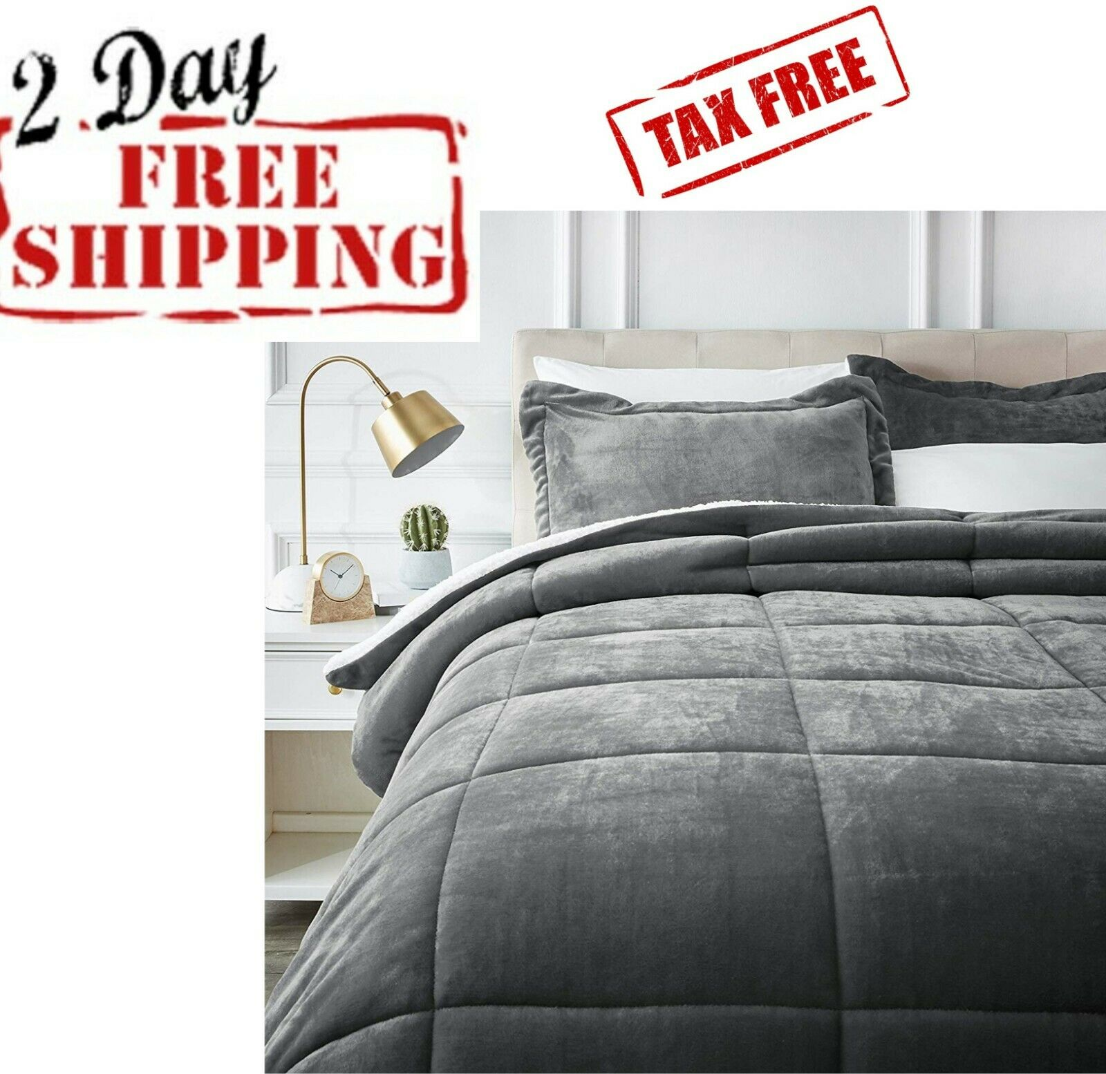 Bed Comforter Set Bedding Soft Shaggy Luxury Micromink Full/