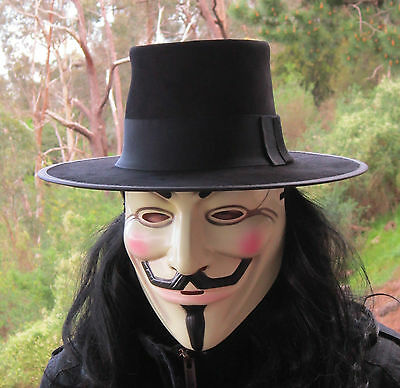 BLACK SUEDE LEATHER V FOR VENDETTA HAT FANCY DRESS COSTUME FILM STYLE OUTFIT