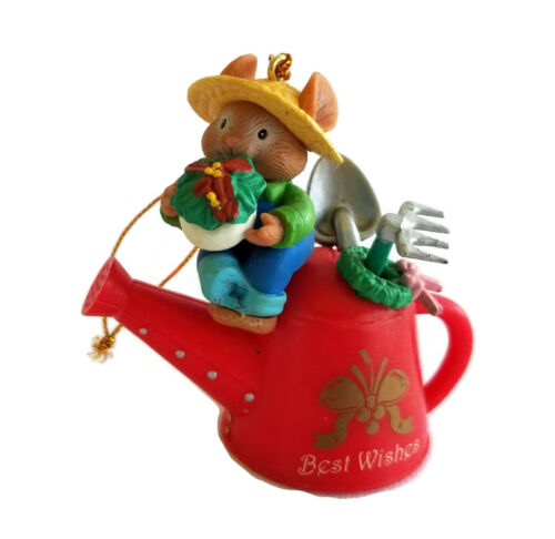 GARDENING GARDENER Christmas Ornament LUSTRE FAME 1996 Mouse on Watering Can