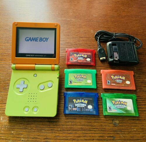 Nintendo Game Boy Advance SP Special W/ 5 Pok mon Games All SAVE Charger  - $129.50