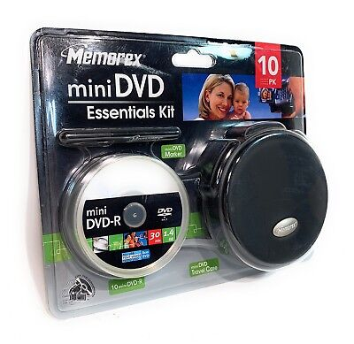 Mini Essentials Kit (Memorex Mini DVD Essentials kit Brand New 10 Pack mini DVD-R + Case)