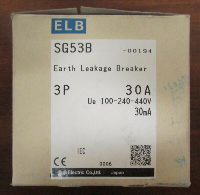 FUJI ELECTRIC SG53B 00194 3 Pole 30 Amp ELB Earth Leakage Circuit Breaker