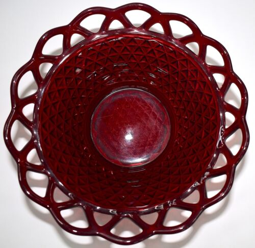 """Antique Imperial Glass 9"""" Laced Diamond Bowl Ruby Red Lace Scallop Edge FREE S&H"""