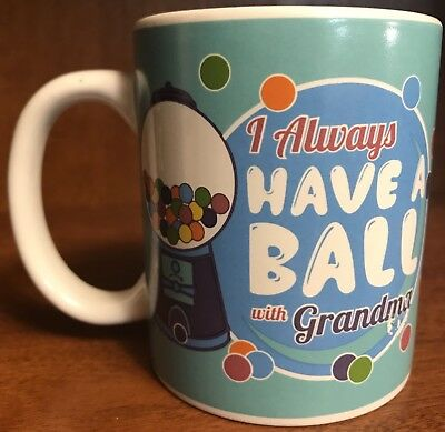 Gumball Machine Coffee Mug Fun Cup Blue White I Always Have A Ball With - White Gumball Machine
