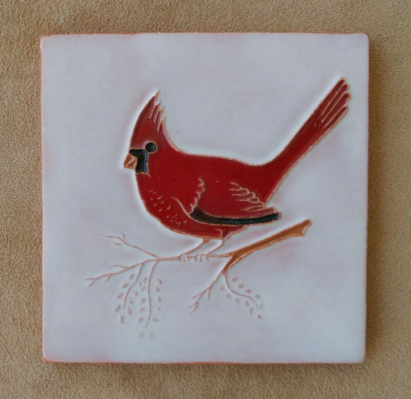 Lovely Vintage Ceramic Art Tile Cardinal Bird on a Branch Great Condition