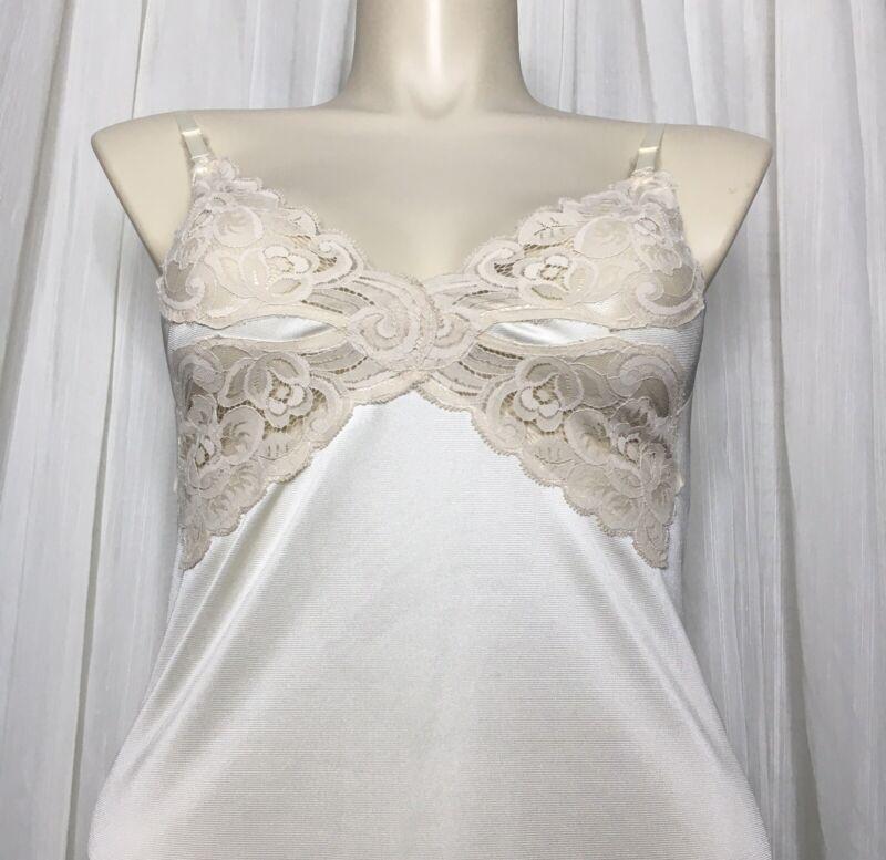 Vintage Vanity Fair 36 Ivory Silky Nylon Lace Romantic Full Slip Lingerie Dress