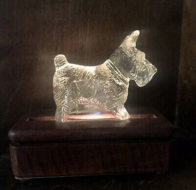 "Vintage Clear Glass Scottie 4"" Figurine On Lighted Wooden Base"
