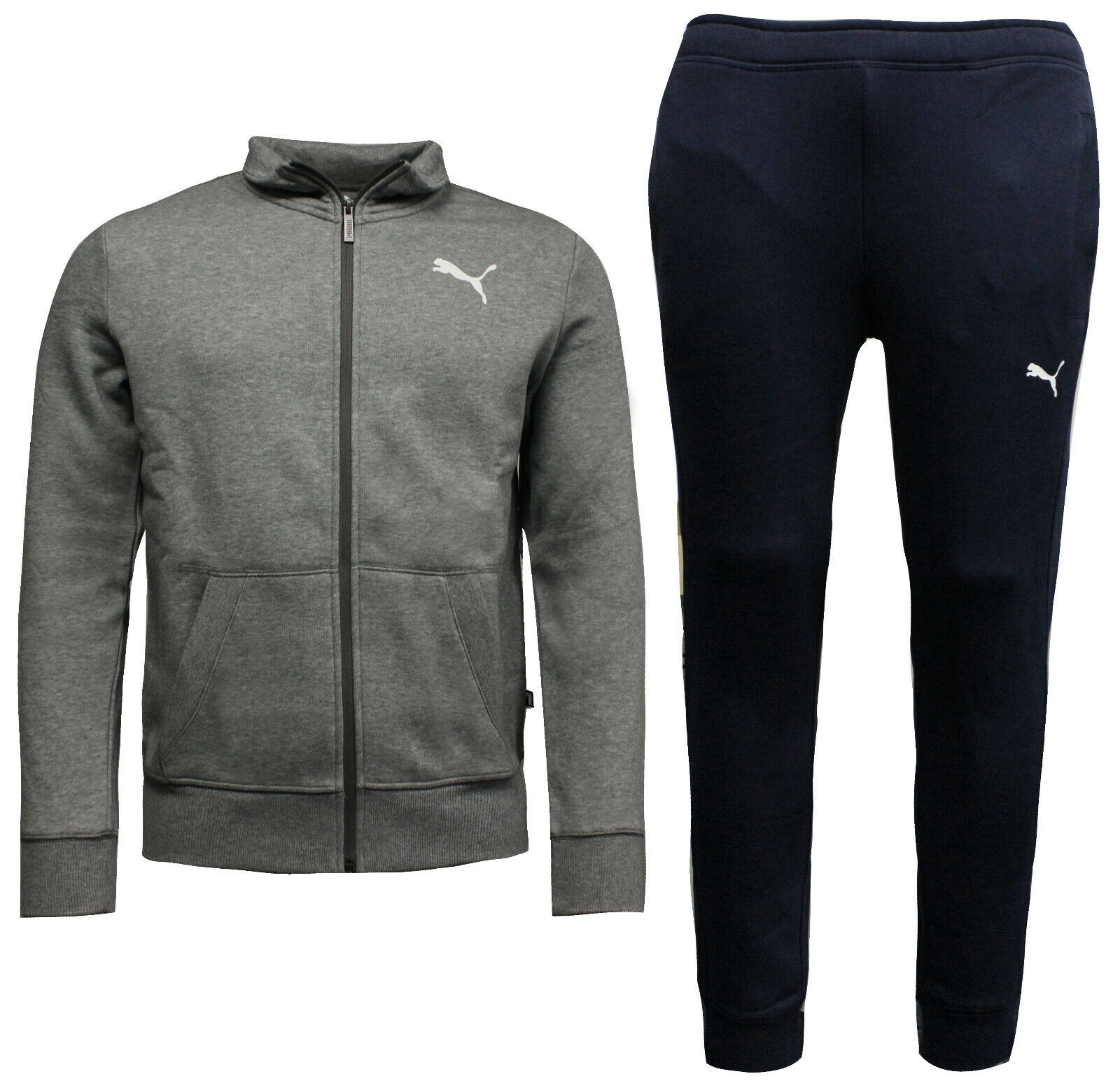 663054961 Puma Mens Style Sweat Suit Cl Tracksuit Top Joggers Grey Navy 851555 ...