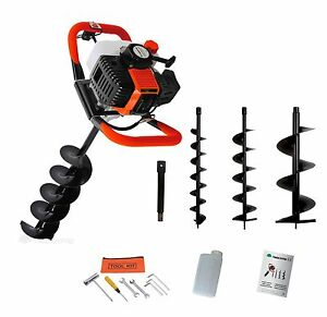 52cc Petrol Earth Auger 3HP Post Hole Borer Ground Drill with 3 Bits + Extension