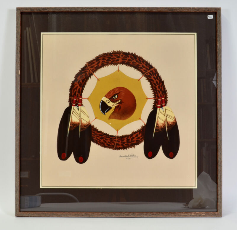"Framed Golden Eagle Original Painting First Nations Native American Art 29"""