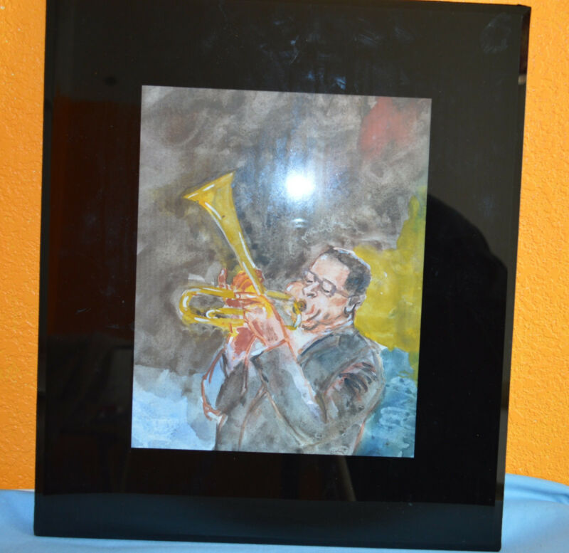 Jazz Trumpet Player Original  Watercolor Framed 9 1/2 x 7 1/2 In 1995 Ship Free