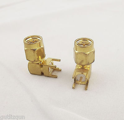 10x RF Coaxial Connector SMA Male Plug Right Angle Solder for PC Board PCB Mount