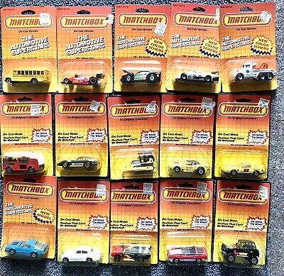 lot of 15 Matchbox die cast vehicles from 1983 and 1986 NEW! in package