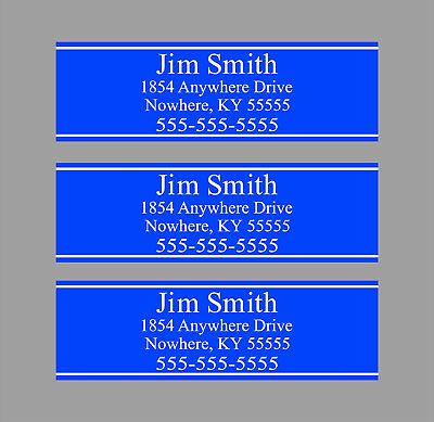 Custom Royal Blue Club Shaft Labels With Your Name, Address & Phone Number