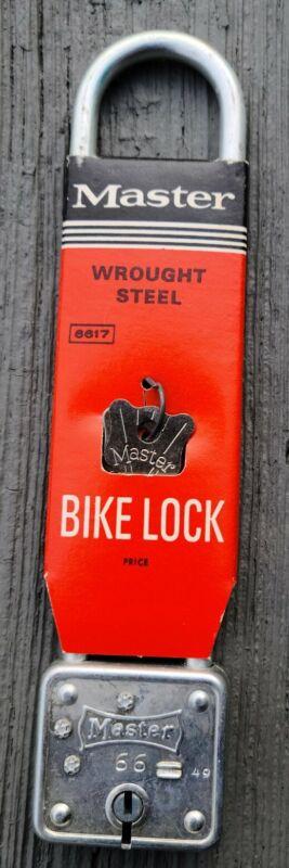 VINTAGE NOS MASTER LOCK #66 Long Bicycle bike lock wrought steel Made in USA