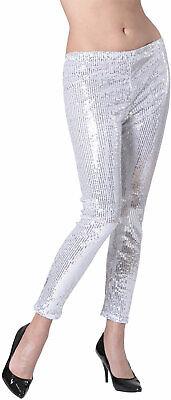 Pailletten-Leggings silber NEU - Damen Karneval Fasching Verkleidung Kostüm