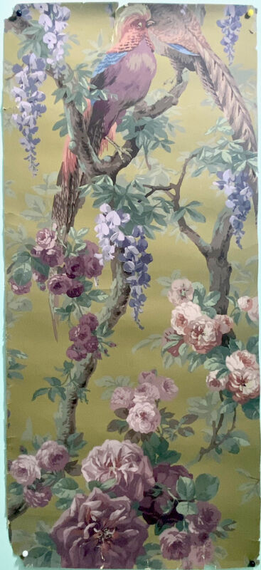 Beautiful 19th Century French Floral / Bird Wallpaper