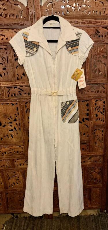 Vintage Jumpsuit Disco Romper Women 1970s Bell Bottom Ivory Short Sleeve NWT 11