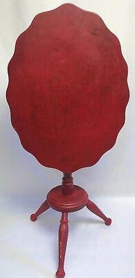 """VTG RED Cornwall FOLDING TILT TOP TABLE scalloped edge 21.5"""" Cottage Chic Shabby"""