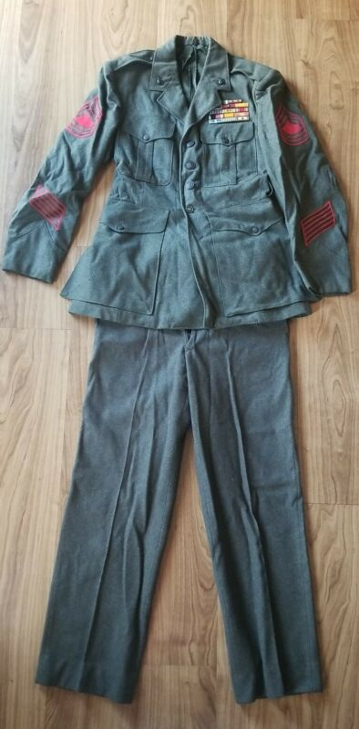 Original USMC Wool Uniform Jacket Pants Belt Medals Bronze Stars Korea Combat