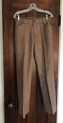 Mod 1960s Womens Classic Wool Brown Camel Tweed Flares Pants  M (1960's Womens Pants)
