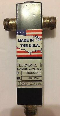 1 Telewave 760-920 MHz Power Divider Two Way Split ANTPD28