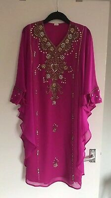 Lovely Girls Fuchsia Pink/Gold Embellished Sequin Farasha Chiffon Dress Size 44 (Girls Embellished Dress)