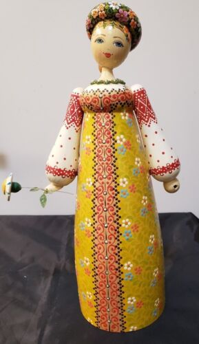 """VINTAGE HAND CARVED & PAINTED WOOD RUSSIAN LADY - 11 3/4"""" TALL"""