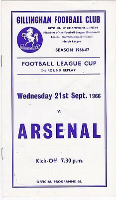 GILLINGHAM V ARSENAL FL CUP 2ND ROUND REPLAY 21/9/66