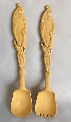 Rare ANTIQUE Celluloid Rococo Style SALAD SERVERS Art Nouveau 1920s