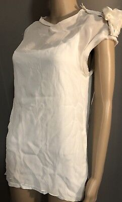 Off White Sleeveless layered top with flower by Lanvin sz med