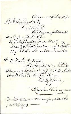 Edwin B. Morgan, U.S. Congressman Autograph Letter Signed in 1870 with COA
