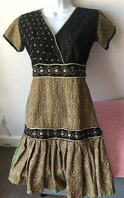 Vintage Indian Green Black Gold mini Dress Top S * hippy boho