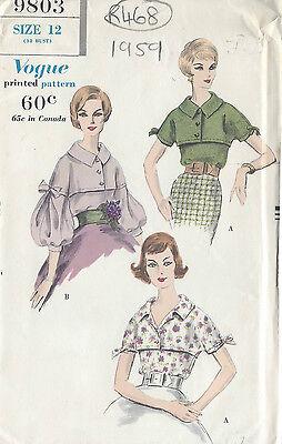 1959 Vintage VOGUE Sewing Pattern BLOUSE B32