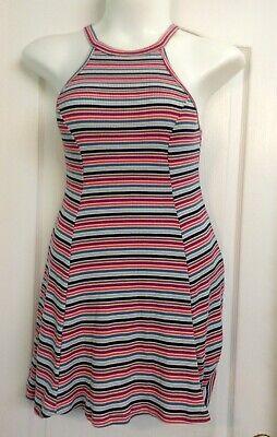 Flirty Hollister Brand Colorful Striped Summery Halter Dress~SZ Med~EUC - Flirty Striped Dress
