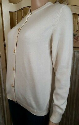 Vintage Cashmere Ivory Med Cardigan Sweater Ballantyne of Peebles Scotland