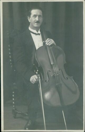 Gentleman with a  Cello and bow    c 1920s     RP     Moustache        D4/274