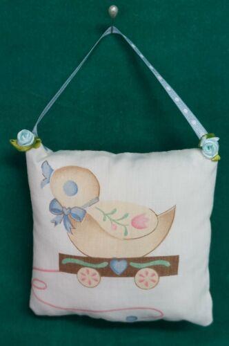 Handmade Fabric NURSERY DOOR KNOB HANGER Duckling w/Blue Ribbon Hanger