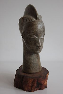 Statue IN Stone Hard On Base Wooden Head African Popular Art Ethnic 24cm