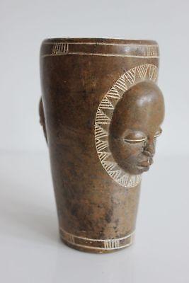 Vase IN Stone Hard On Base Wooden Head African Popular Art Ethnic
