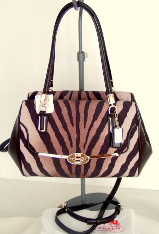 COACH Madison Zebra Print w/Leather Trim Madeline Satchel +Dust Bag NWT $278+Tax