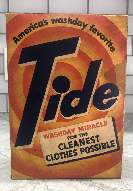 Vintage 40's-50's Tide Soap Box Full Unopen Laundry Detergent 1 Lb 3 oz See Pics