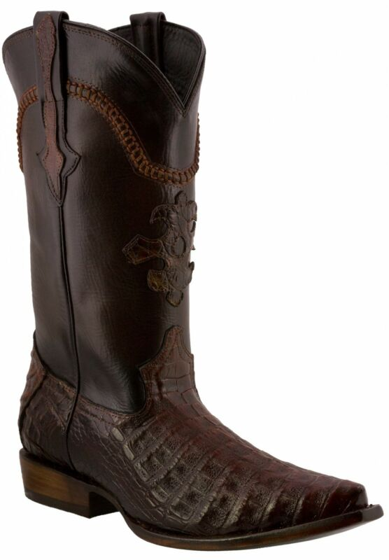 Mens, Rust, Cognac, Real, Crocodile, Belly, Exotic, Skin, Leather, Cowboy, Boots, Pointed